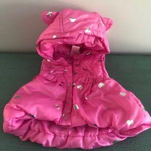 18 month pink with silver hearts puffer vest